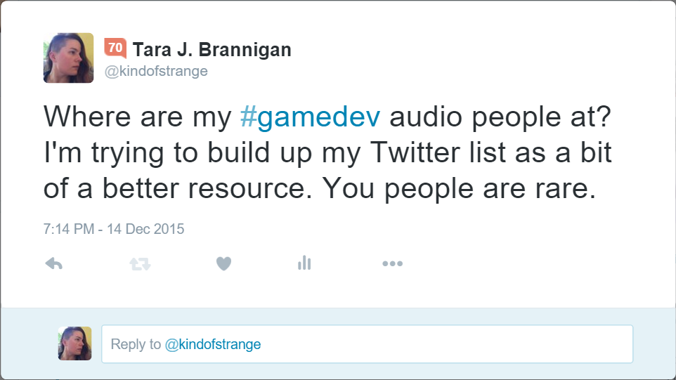 Asking people for audio game dev folks