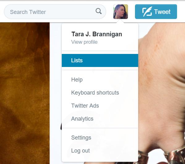 Twitter Lists Menu