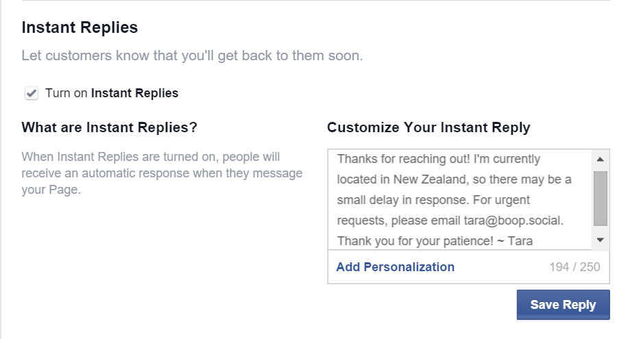 Custom Facebook Instant Reply Example