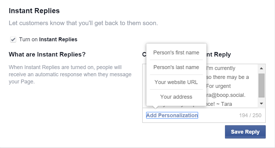 Facebook Instant Reply customizations